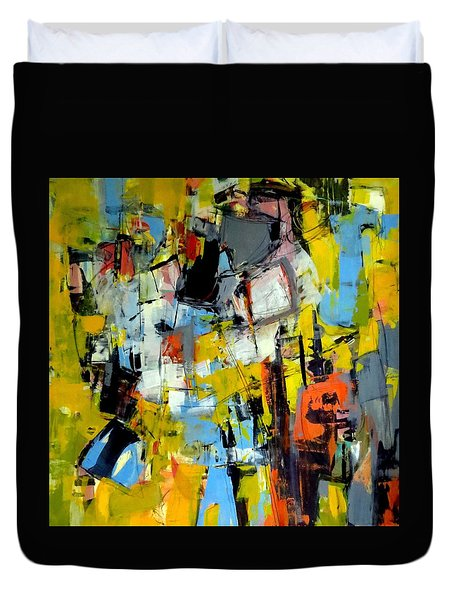 Duvet Cover featuring the painting Shades Of Yellow by Katie Black