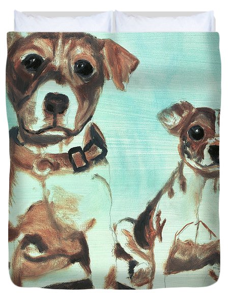 Shadow Dogs Duvet Cover by Terry Lewey