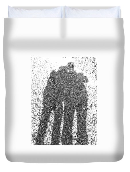 Duvet Cover featuring the photograph Shadow In The Meadow Bw by Wilhelm Hufnagl