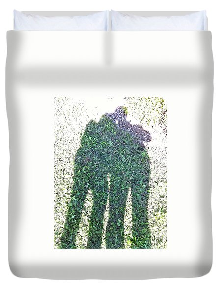 Duvet Cover featuring the photograph Shadow In The Meadow by Wilhelm Hufnagl