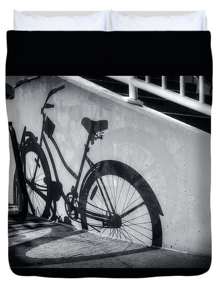 Shadow Of A Bike At Carolina Beach Duvet Cover