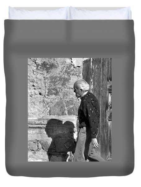 Duvet Cover featuring the photograph Shadow Of A Man by Jim Walls PhotoArtist