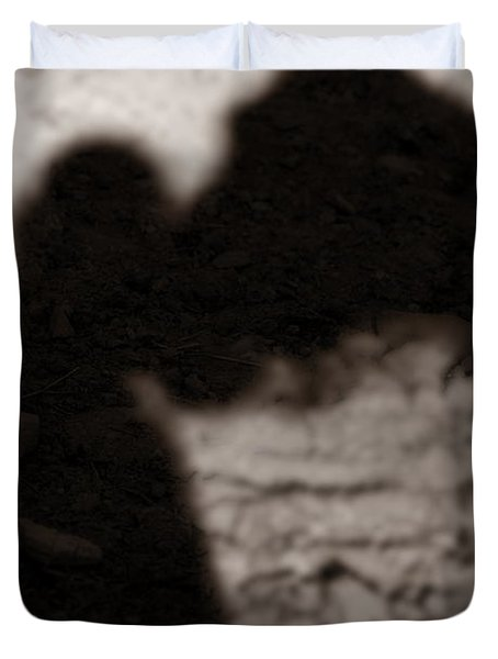 Shadow Of Horse And Girl - Vertical Duvet Cover by Angela Rath