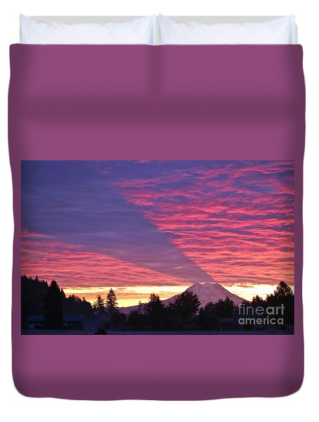 Shadow Of Mount Rainier Duvet Cover by Sean Griffin