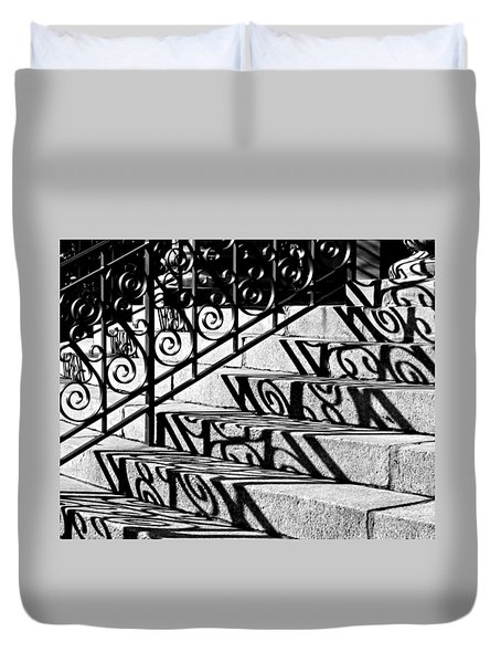 Shadow On The Rotunda Stairs Duvet Cover