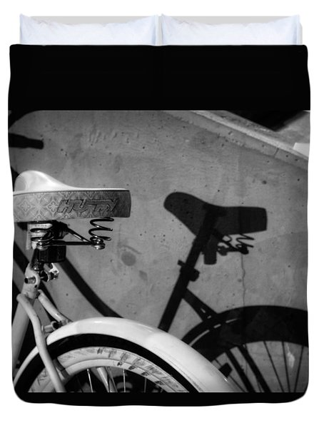 Shadow Ride In Black And White Duvet Cover by Greg Mimbs