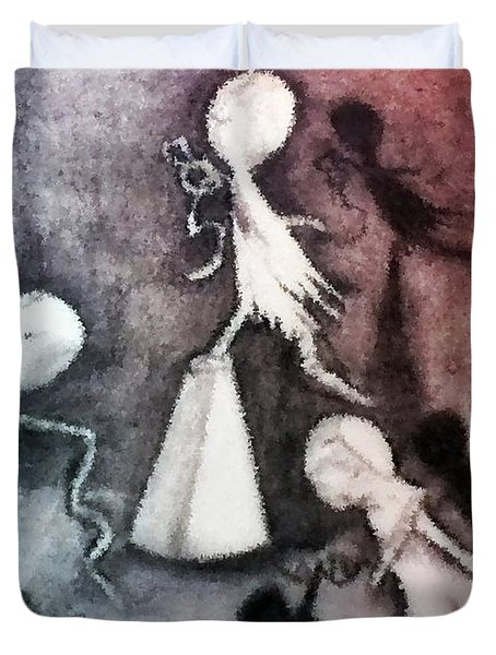 Mixed Media Drawing Of Shadowed Ballet Dancers By Ayasha Loya Duvet Cover by Ayasha Loya
