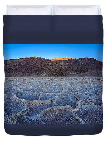 Shadows Fall Over Badwater Duvet Cover
