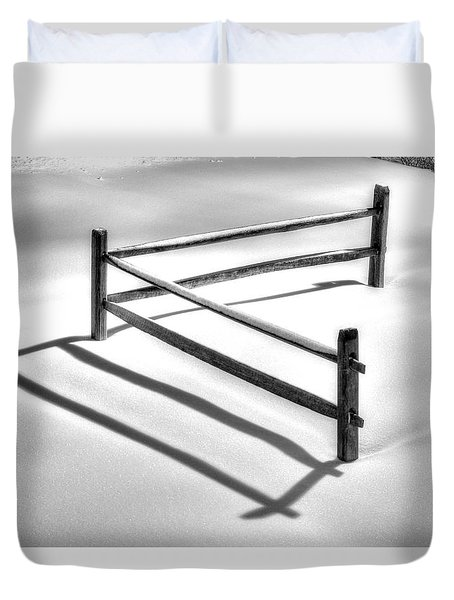 Shadows In The Snow - No. 1 Duvet Cover by Michael Mazaika