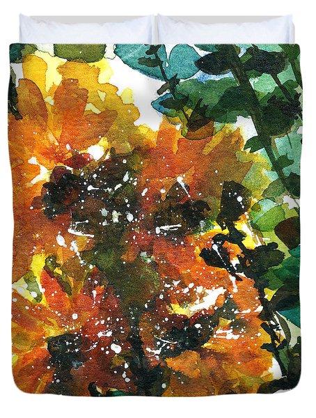Shadows Of Sunflowers Duvet Cover by Garima Srivastava