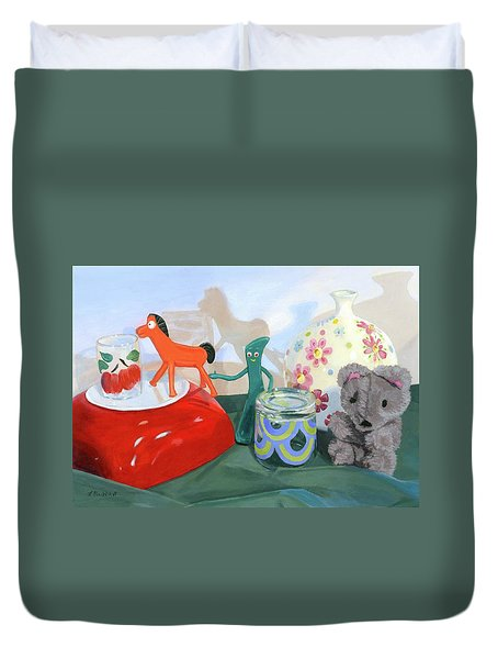Duvet Cover featuring the painting Shadows Of The Past by Lynne Reichhart