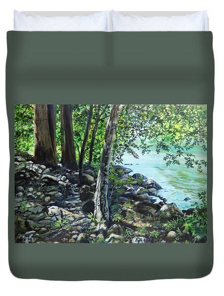 Shadows On The Bank Duvet Cover