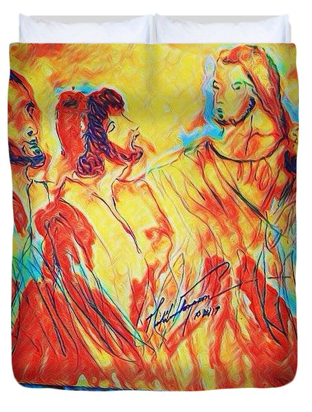 Shadrach, Meshach And Abednego In The Fire With Jesus Duvet Cover