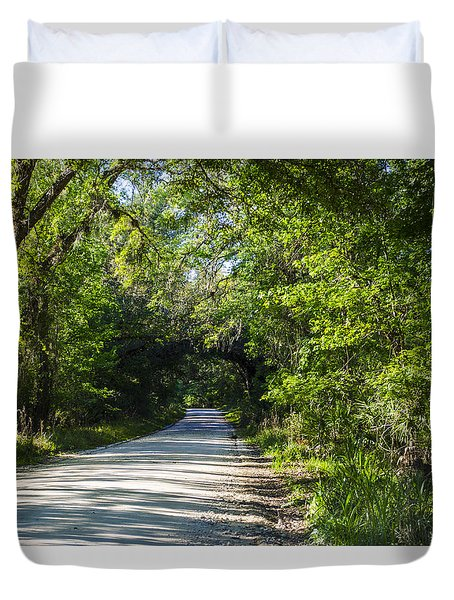 Duvet Cover featuring the photograph Shady Lane In Ocklawaha by Deborah Smolinske