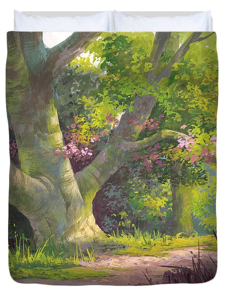 Duvet Cover featuring the painting Shady Oasis by Michael Humphries