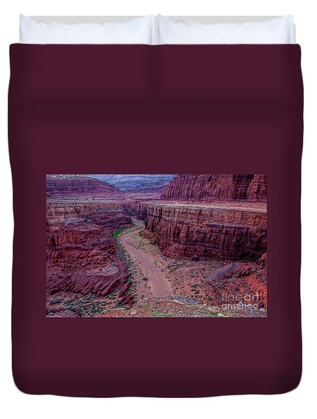 Duvet Cover featuring the photograph Shafer Canyon At Sunset - Moab - Utah by Gary Whitton