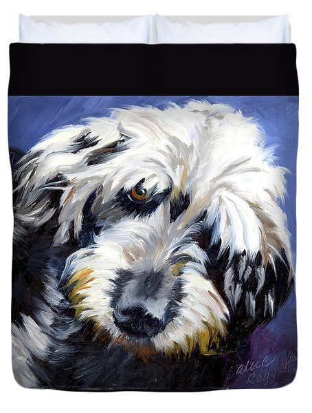 Shaggy Dog Portrait Duvet Cover