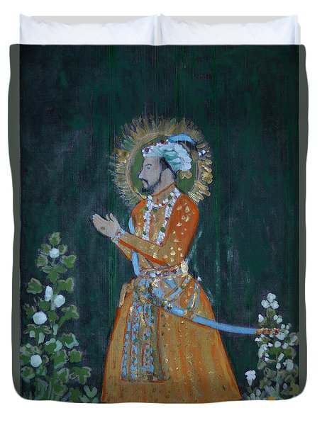 Duvet Cover featuring the painting Shah Jahan by Vikram Singh