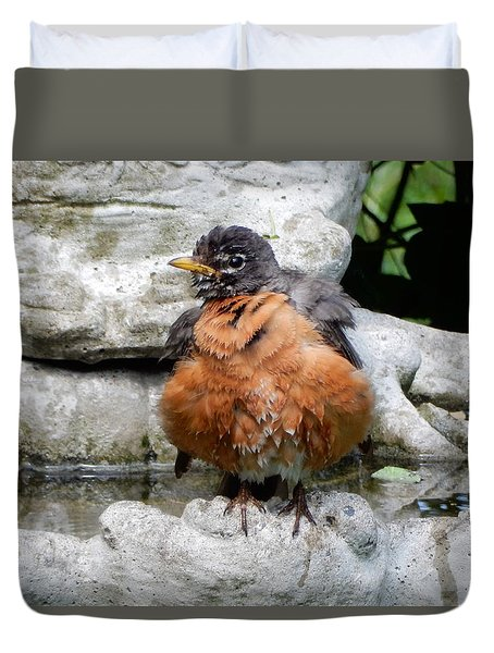 Duvet Cover featuring the photograph Shaking Dry by Betty-Anne McDonald