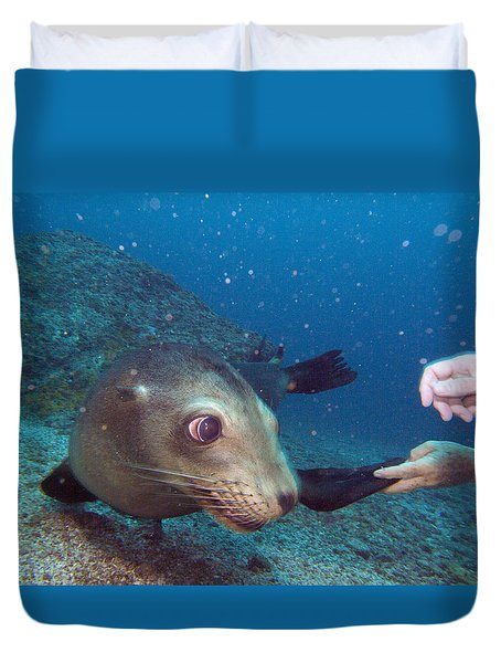 Shaking Hands And Fins Duvet Cover
