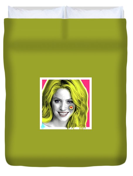 Shakira, Pop Art, Pop Art, Portrait, Contemporary Art On Canvas, Famous Celebrities Duvet Cover by Dr Eight Love