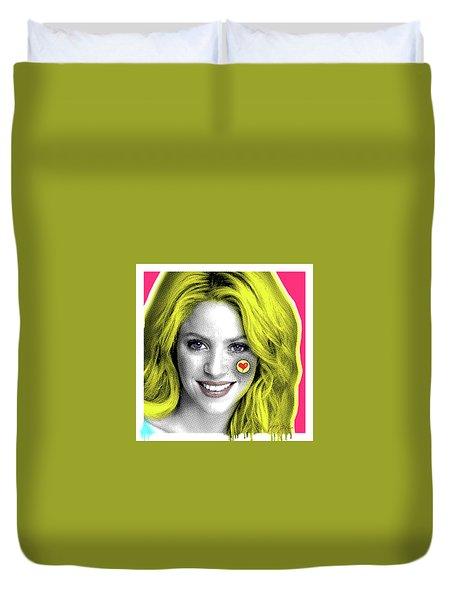 Shakira, Pop Art, Pop Art, Portrait, Contemporary Art On Canvas, Famous Celebrities Duvet Cover