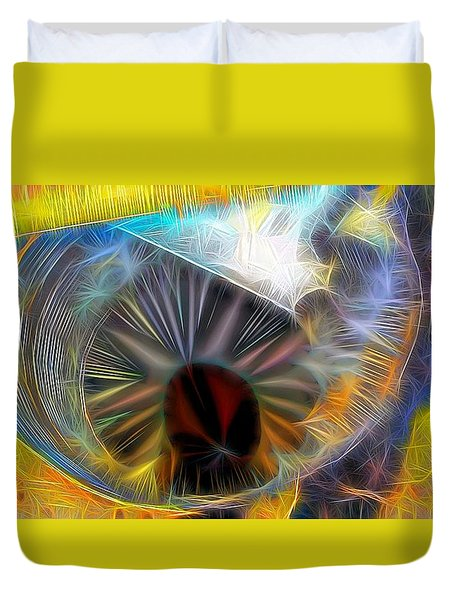 Duvet Cover featuring the digital art Shallow Well by Ron Bissett
