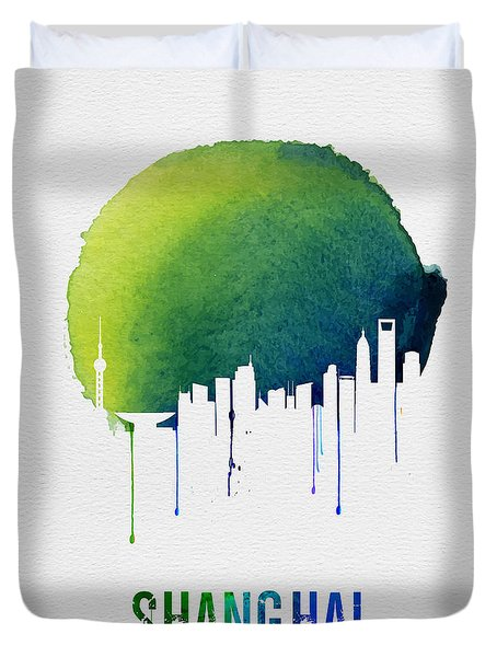Shanghai Skyline Blue Duvet Cover