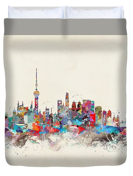 Shanghai Skyline Duvet Cover by Bri B