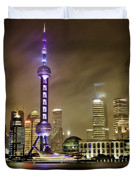Shanghai Skyline Duvet Cover