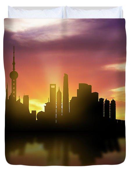Shanghai Skyline Sunset Chsh22 Duvet Cover