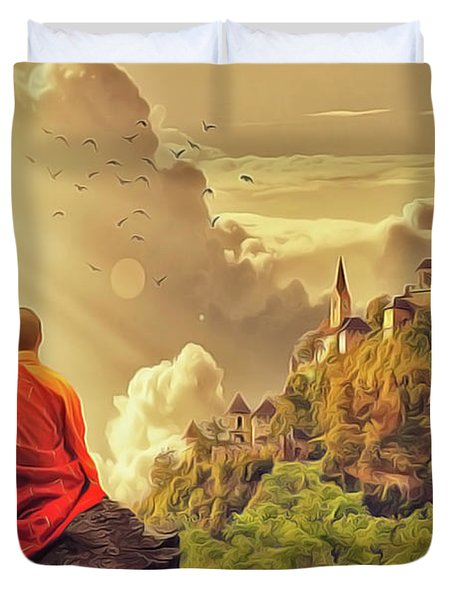 Duvet Cover featuring the painting Shangri La by Harry Warrick