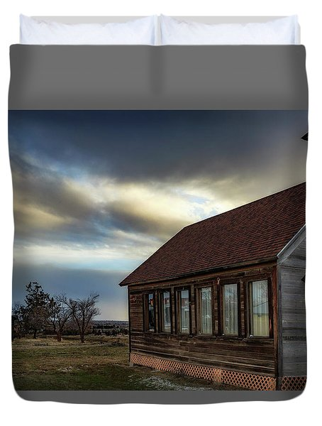 Duvet Cover featuring the photograph Shaniko Schoolhouse by Cat Connor