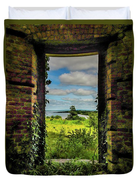 Duvet Cover featuring the photograph Shannon Estuary From Abandoned Paradise House by James Truett