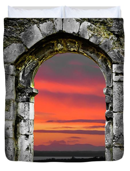 Duvet Cover featuring the photograph Shannon Sunrise Through Medieval Arch by James Truett
