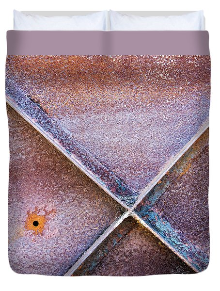 Duvet Cover featuring the photograph Shapes And Textures On Bunker Door by Gary Slawsky