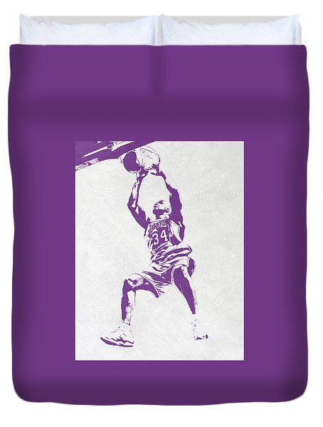 Shaquille O'neal Los Angeles Lakers Pixel Art Duvet Cover