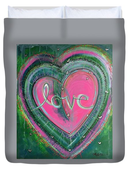 Duvet Cover featuring the painting Share My Love Heart by Laurie Maves ART