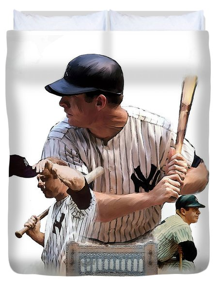 Shared Legacy Mickey Mantle Duvet Cover by Iconic Images Art Gallery David Pucciarelli