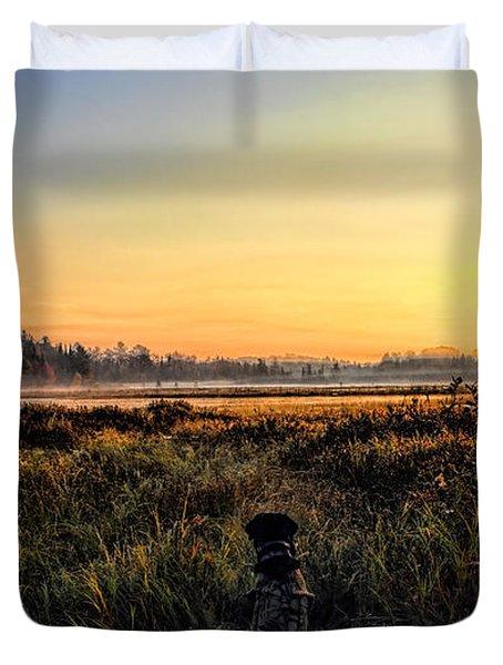 Sharing A September Sunrise With A Retriever Duvet Cover