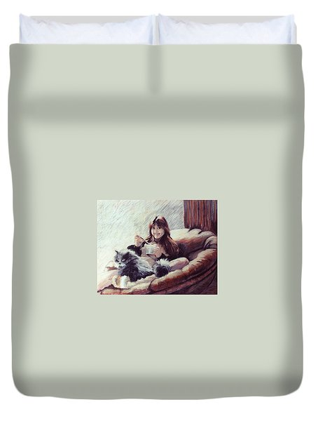 Sharing Ice Cream Duvet Cover
