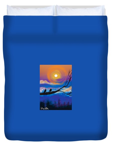 Duvet Cover featuring the digital art Sharing The Sunset-2 by Diana Riukas