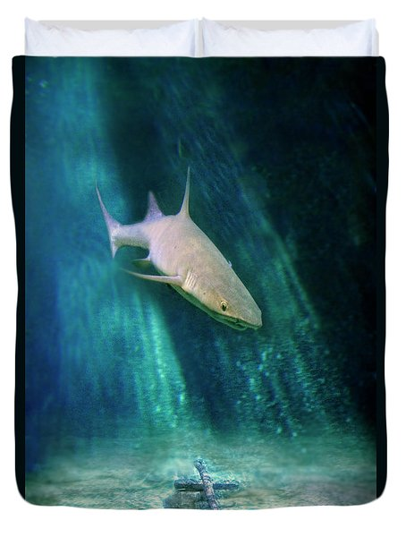 Duvet Cover featuring the photograph Shark And Anchor by Jill Battaglia