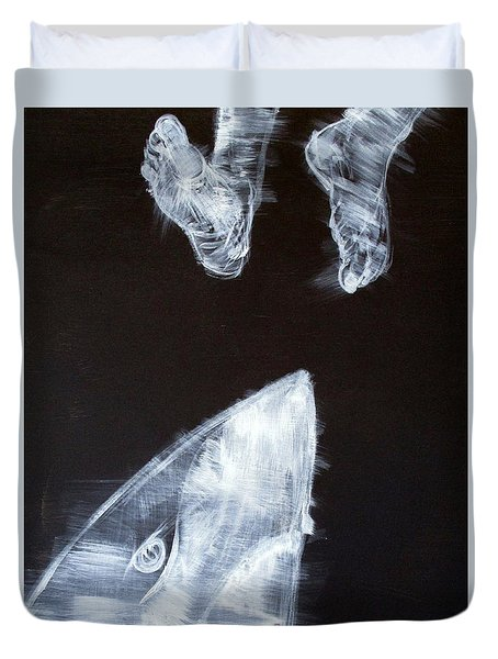 Shark And Feet Duvet Cover by Fabrizio Cassetta