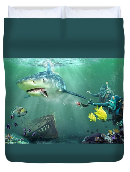 Duvet Cover featuring the photograph Shark Bait by Don Olea