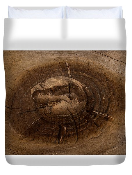 Shark In Wood Duvet Cover