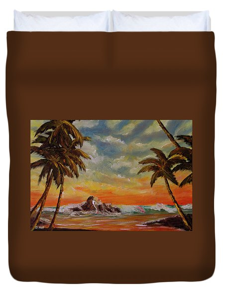 Sharks Cove North Shore Oahu #394 Duvet Cover by Donald k Hall