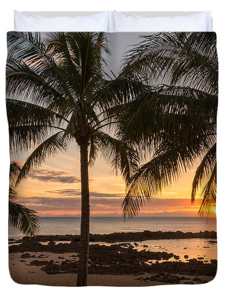 Sharks Cove Sunset 3 - Oahu Hawaii Duvet Cover by Brian Harig