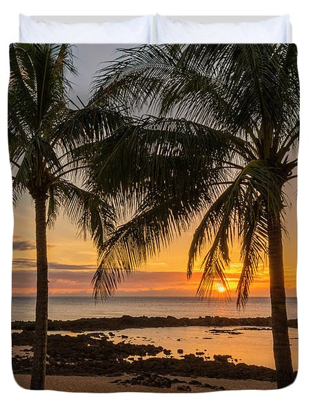 Sharks Cove Sunset 4 - Oahu Hawaii Duvet Cover by Brian Harig