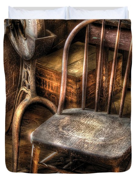 Sharpener - Grinder And A Chair Duvet Cover by Mike Savad